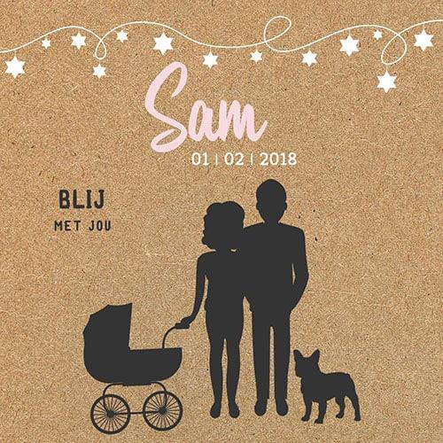 Voorkant geboortekaartje Sam