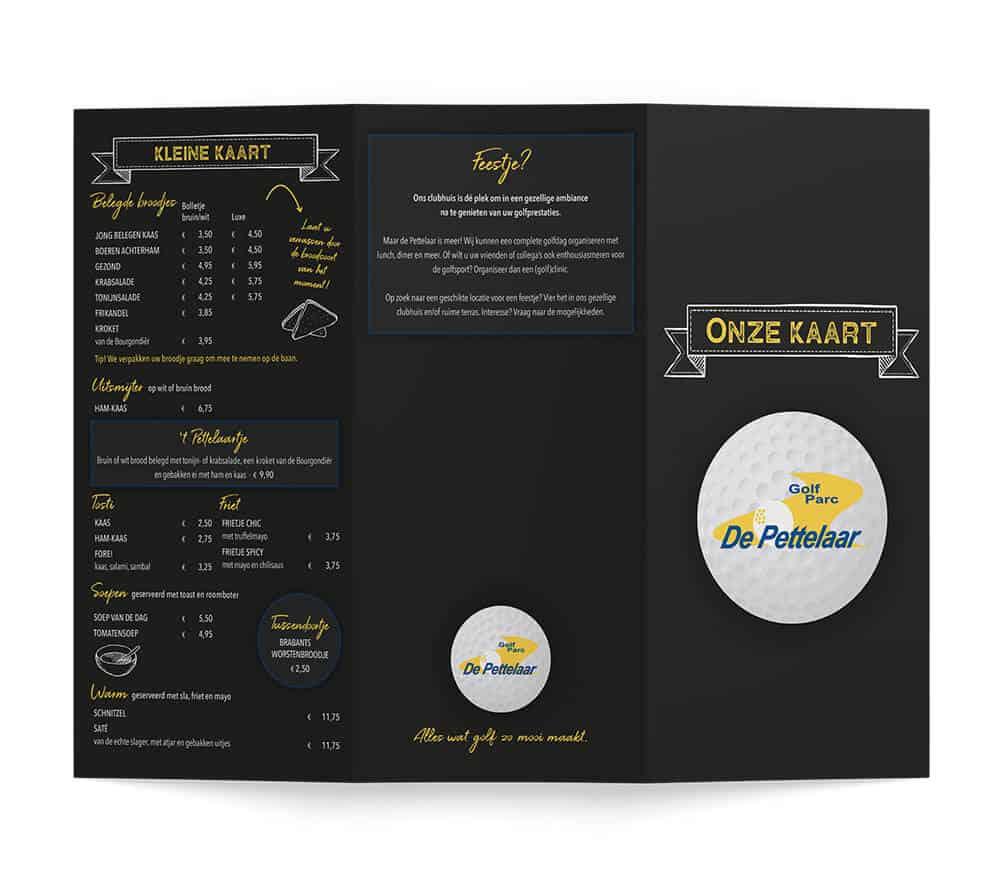 Buitenkant menukaart golfbaan