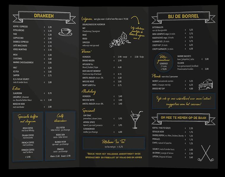 menukaart ontwerp Den Bosch