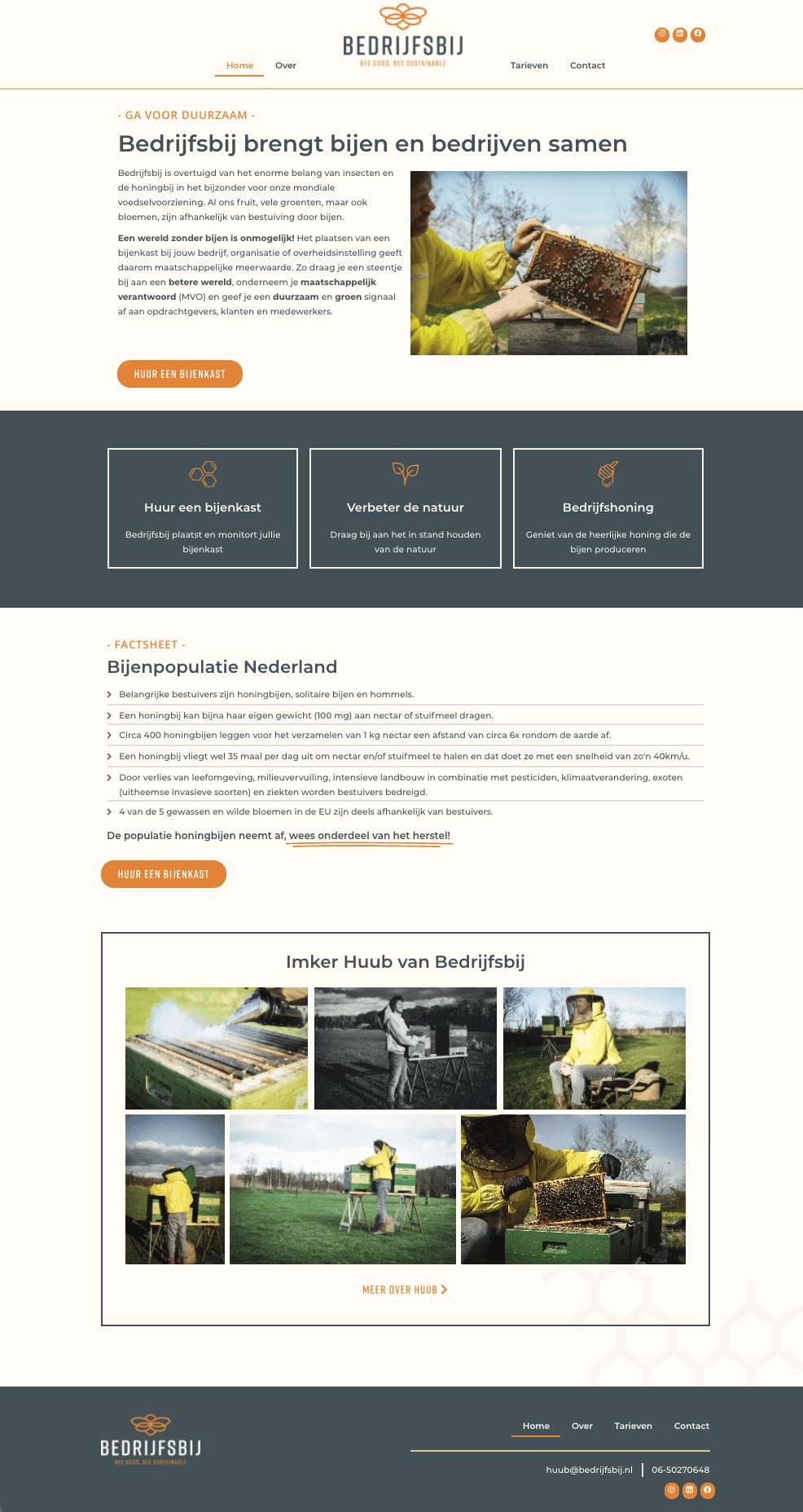 Homepage design Bedrijfsbij